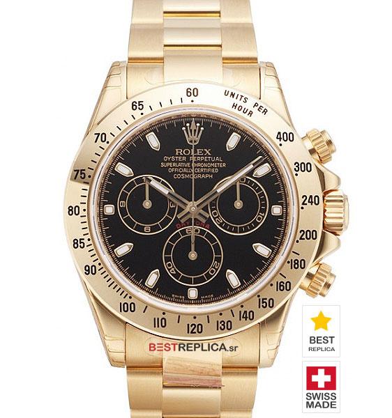 Rolex Cosmograph Daytona Black Dial 18k Gold Bestreplica