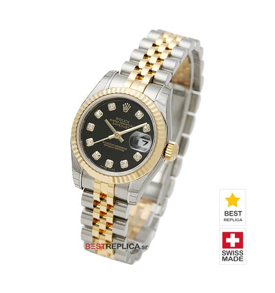 5598f6b2a Rolex Datejust 18k Gold 2-tone Black Dial Diamond Markers | BestReplica