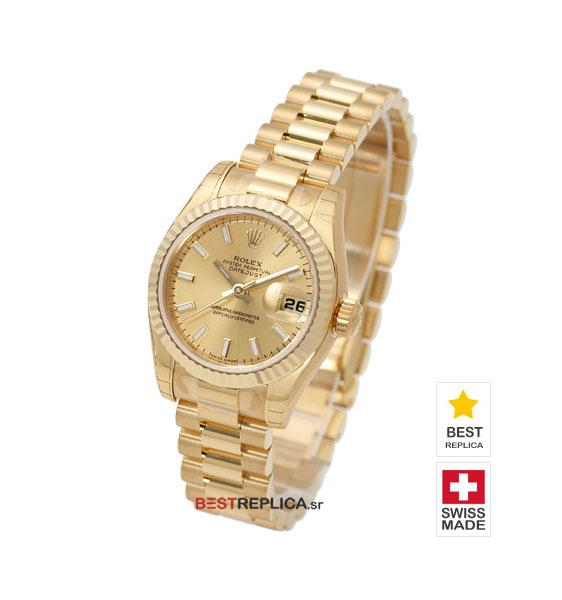 Rolex Datejust 18k Gold President Bracelet Gold Dial