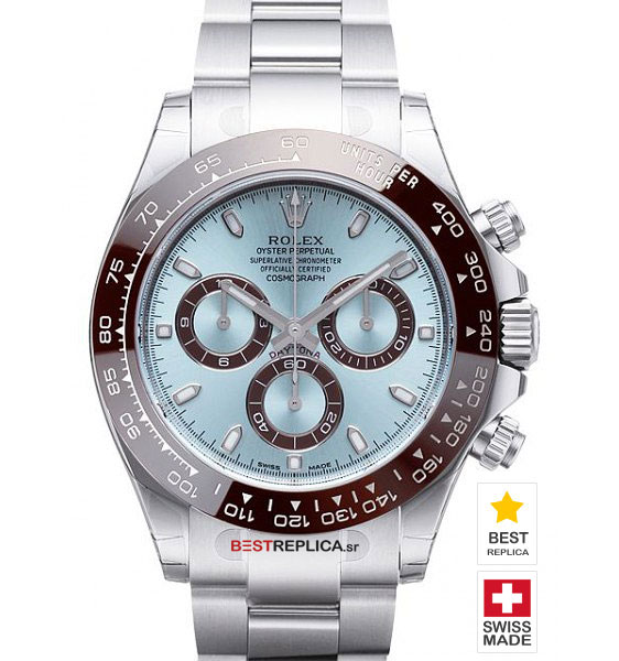 Rolex Cosmograph Daytona 18k White Gold Ice Blue Dial Brown Ceramic