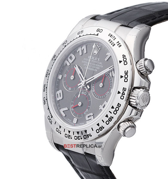 Rolex Cosmograph Daytona White Gold Grey Dial Leather Band Bestreplica