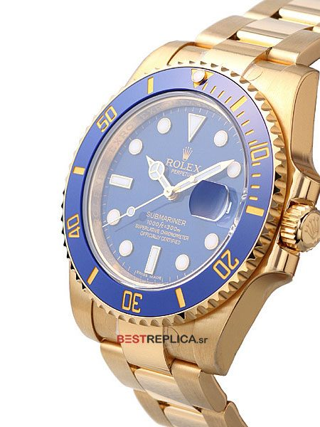 Rolex-Submariner-18k-gold-Blue-Ceramic-side