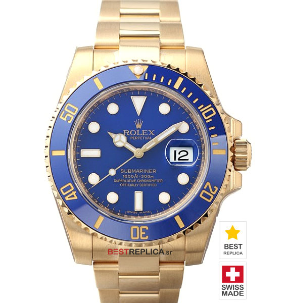 rolex submariner 18k gold blue dial ceramic bezel bestreplica