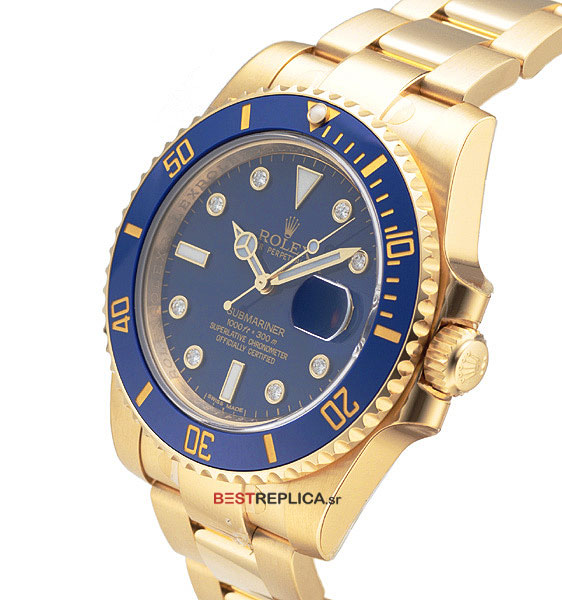 rolex submariner 18k gold blue dial ceramic bezel diamond markers bestreplica
