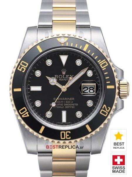 Rolex-Submariner-2tone-black-Ceramic-Diamond-Markers