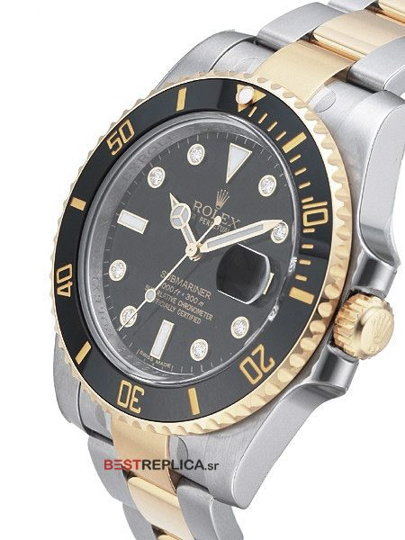 Rolex-Submariner-2tone-black-Ceramic-Diamond-Markers-side