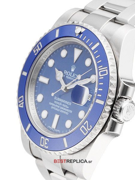 Replica Rolex-Submariner-Blue-Ceramic-SS-Date-side