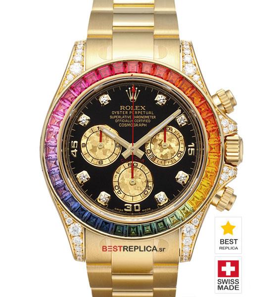 Rolex Cosmograph Daytona Rainbow Bezel Diamond Markers 18k Gold