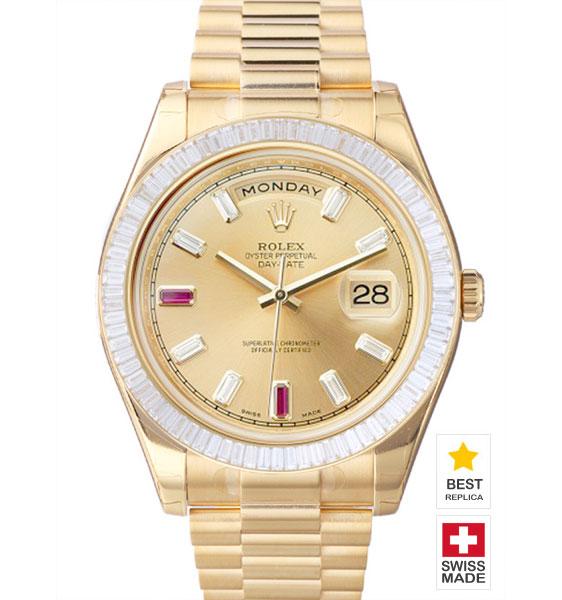 5733113f25c5 Rolex Day-Date II 18k YG Gold Dial Glazier Sticks Diamond Bezel ...